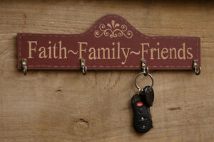 Country Farmhouse Rustic Wooden Faith Family Friends Barn Red Key Hanger Painted