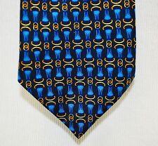 RICHEL Spain - Mens Necktie Tie 100% Silk - Equestrian Horse Tack Buckles Print