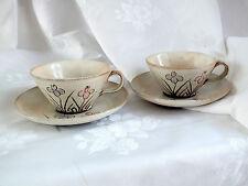 2 Set di Beige Crema Floreale Fiori Fatti a Mano Ceramica Caffè Tè Coppa & Piattino