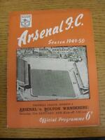 21/01/1950 Arsenal v Bolton Wanderers  (neat team changes and writing on front).