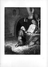 Stampa antica FRATE EREMITA IN PREGHIERA INGINOCCHIATO 1859 Old print