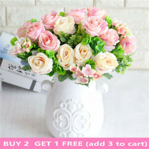 6Heads Artificial Peony Rose Flowers Fake Bouquet Pink Wedding Party Home Decora