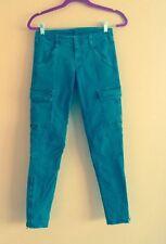 EUC JBRAND Olive Green Skinny Ankle Length Cargo Pants Denim SZ 25 Made in USA