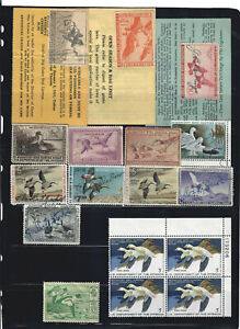 US COLLECTION of USED & UNUSED FEDERAL DUCK STAMPS, PLATE BLOCK is MINT / NH!