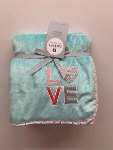 """Carter's Baby Cozy Blanket 40""""x 30"""" Blue """"Love"""""""