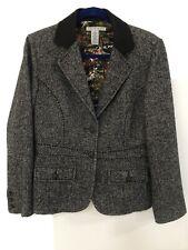 CAbi Equestrian Riding Jacket Blazer Herringbone Tweed Lined Career Wool Sz 10