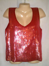 bloomingdales sequin blouse orangeish red silk and cashmere sleeveless size pl