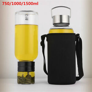 750/1000/1500ml Portable Large Glass Water Bottle With Tea Infuser Travel