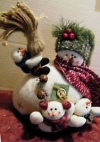 "Cloth SNOWMAN Mom Children winter Christmas figure snowmen shelf decor 12x12"""