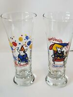 1987 SET OF 2 SPUDS MACKENZIE BUD LIGHT BEER TALL PILSNER GLASSES BUDWEISER