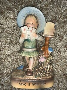 """VINTAGE 1971 HOLLY HOBBIE @ MAILBOX BISQUE FIGURE """"GOOD MORNING HAVE A NICE DAY"""""""