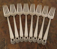 IS Eternally Yours 8 Salad Forks 1847 Rogers Vintage Silverplate Flatware Lot G