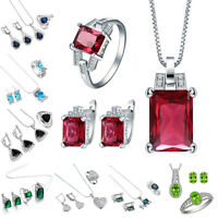 925 Silver Sterling Sapphire Emerald Pendant+Earrings+Ring Jewelry Set Wedding