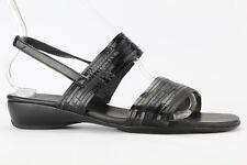 Munro American Women's Black Leather Tangier Slip-on Sandal Size 9.5W
