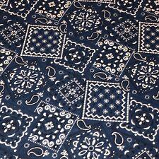 Navy - Blazin' Bandana 100% cotton fabric by the yard 36 x 44 - Navy Blue (dark)