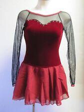 Burgundy Velvet Long Sleeves Sweetheart Ice Figure Skating Competition Dress S
