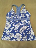 Next Tankini Swimsuit Top 38B 38C Womens Racerback Blue Floral