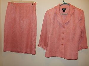 Leslie Fay Women's Size 10 Skirt Suit Floral Peach/Pink 2 Pce Set 100% Polyester