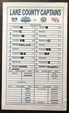 2012 Lake County Captains GAME USED LINEUP CARD w/ FRANCISCO LINDOR ROOKIE