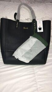 Harrods London Green Black Tote Shoulder Bag Reversible w/ Wristlet Faux Leather