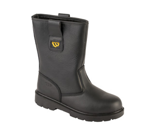 Workforce Safety Rigger Boots Steel Toe Cap Black Leather Fur Lined WF27
