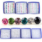 Wholesale 20 Pairs Rhinestone Crystal Plastic Round Earrings Stud Pin Jewelry