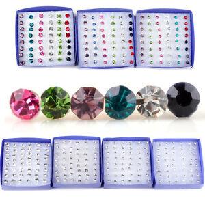 Wholesale 20 Pairs Rhinestone Crystal Plastic Round Earrings Stud Pin Jewelry