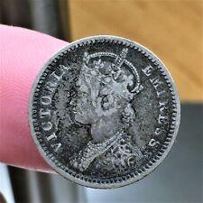 1887 India - British 1/4 Rupee Coin, SILVER, Victoria, Mule., KM# 490