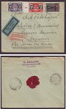 d3229/ Lithuania Kaunas Airmail Registered Cover via Berlin t/Yugoslavia 1935