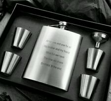 Personalised Engraved 8oz Kidney Hip Flask Gift Box Set with 4 Tot Cups & Funnel