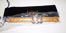 WOMAN'S BURGI CARAMEL GOLD LEATHER  MOC CROC WATCH NEVER USED SILVER HARDWARE