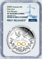 2020 One Love 1oz .9999 Silver $1 Proof Coin NGC PF70 UC FR with OGP Tuvalu