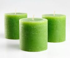 """Set of 3 Green Pillar Candles 3"""" x 3"""" Unscented Handpoured for Weddings, Home"""
