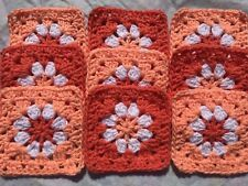 "Lot 20 5"" Coral & Peach Daisy Flower Crochet Granny Squares Afghan Blocks orange"