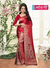 Indian Bollywood Maroon Banarasi Silk Party Wear Designer Wedding Saree Sari