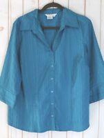 Como Woman Blouse 1X Aqua Blue Textured Poly Spandex Stretch 3/4 Sleeve