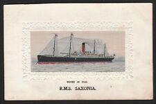 RARE Postcard - R.M.S. Saxonia 1910 Steamer Ship - Stevengraph Silk Cunard Line
