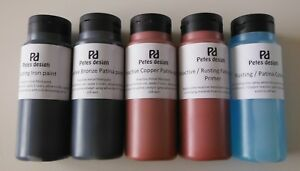 Patina or Rusting paints, Iron, Copper, Bronze, Primer or catalyst all 500ml