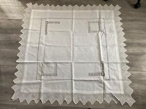"Beautiful Vintage White Linen Tablecloth 50"" X 47"" Crochet Border"