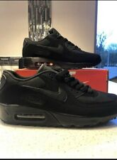 info for 6608b 374a0 New Mens Nike AIR MAX 90 Trainers Triple BLACK UK Sizes