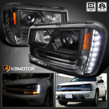 [Black] 2002-2009 Chevy Trailblazer LED DRL Projector Headlights Left+Right