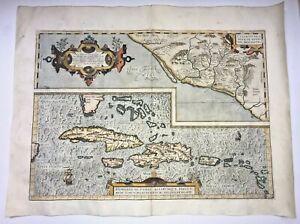 AMERICA HISPANIOLA CUBA 1579 ABRAHAM ORTELIUS UNUSUAL LARGE ANTIQUE MAP