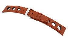 "RIOS1931 Genuine Cow Leather Watch Band with Racing holes 20 mm Cognac ""RACING"""