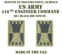 LOT OF 2 US ARMY 416TH ENGINEER THEATER COMMAND TEC PATCHES UNIFORM BDU SUBDUED