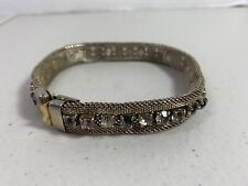 Vintage Small Dog Collar Chocker Clear Rhinestones Gold Tone Fitted Collar Clasp