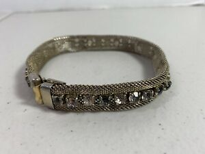Small Dog Collar Chocker Clear Rhinestones Gold Tone Fitted Collar Clasp Vintage