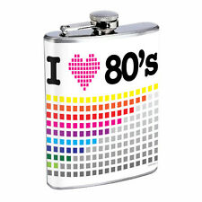 80's Images D5 Flask 8oz Stainless Steel Hip Drinking Whiskey Pixel Chart