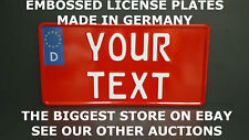 German Germany US USA License Plate Number Plate Embossed Alu Custom Your Text