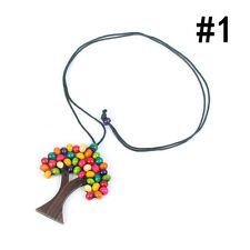 Fashion Womens Boho Bead Tree Necklace Natural Wood Beads Handmade Vintage Gift