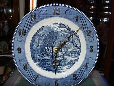 Currier & Ives  Clock Royal China Blue